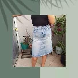 Falda midi jean