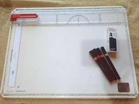 Tablero Rotring para dibujo tecnico y 4 rapidógrafos rotring
