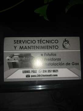 Técnico profesional en mantenimiento de calentadores estufas instalaciónes de gas natural,redes internas externa cambio