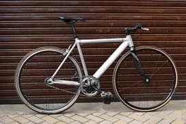 Bicicleta Piñon Fijo Ontrail Crudo Marco Aluminio Tenedor En Carbono.