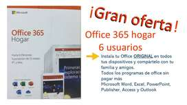 Original Office 365 Hogar 6 Usuarios 12 meses