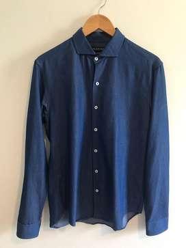 Camisa Azul medio tornasolada