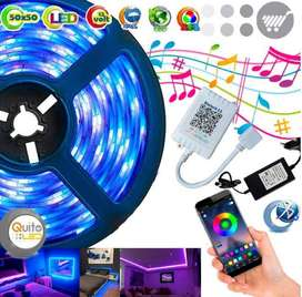 Cinta Led Rollo 5 Mts Rgb Audioritmica Bluetooth Colores