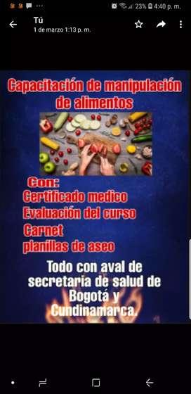 CAPACITACION DE MANIPULACIÓN DE ALIMENTOS EXÁMENES Y CERTIFICADOS MEDICOS