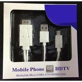 MHL Micro USB a HDMI Cable HDTV Adaptador para Galaxy blanco