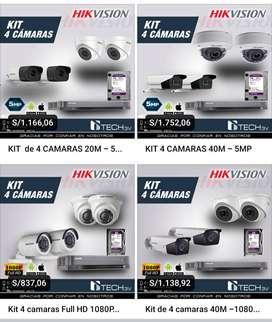 Kit de 04 cámaras de vídeo vigilancia Hikvision