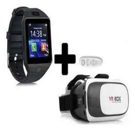 Combo Smartwatch Dz09 MAS  Gafas De Realidad Virtual Box MAS CONTROL