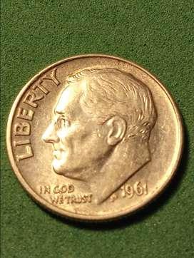 #Moneda EEUU 1 Dime 1961 Plata