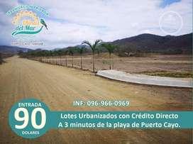El sueño de tener su casa en la playa hágalo realidad venta de lotes totalmente organizado con crédito directo/SD3
