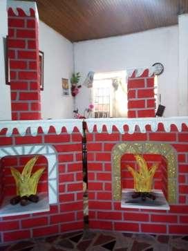 Hermosas chimeneas navideñas en Icopor