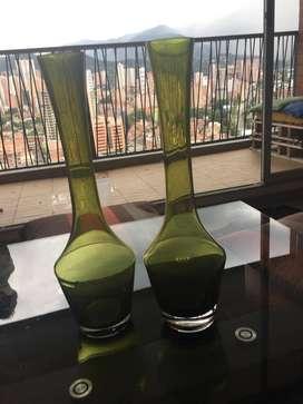 Jarrones en cristal polaco