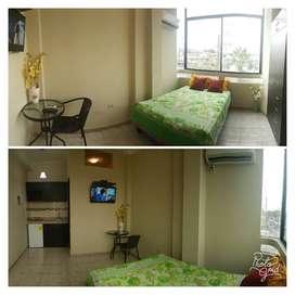 Suite Estudio servicio Tipo Hotel Tv Cable, A/C, Internet, Agua caliente Riocentro Norte Samanes