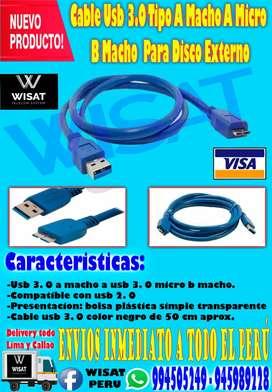 Cable Usb 3.0 Tipo A Macho A Micro B Macho Para Disco Externo