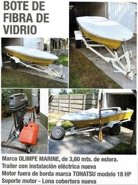 bote fibra vidrio OLIMPE MARINE 3.60 c/motor y trailer