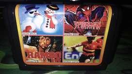 Casette 4 en 1 Sega Mega Drive El Hombre Araña, Snow Bros, Rambo 3,Futbol NUEVO