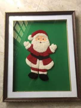 Hermoso cuadro de papa noel tejido  hecho a mano