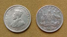 Moneda de 6 peniques de plata, Australia bajo Adm. Británica 1928