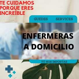 Enfermeras a domicilio. Bajo costo. Excelente calidad y preparación. Guedes Services.