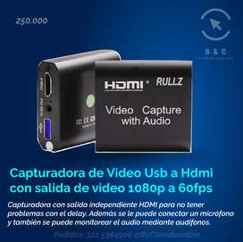 Capturadora de Video Usb a Hdmi con salida de video 1080p a 60fps