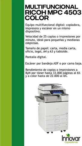 Vendo fotocopiadora multifuncional RICOH MPC 4503 Color
