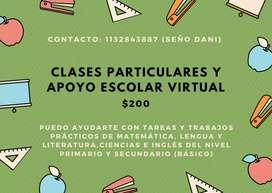 Clases particulares y apoyo escolar para primaria y secundaria.