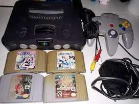 Nintendo 64 con juegos Mario Pokemon