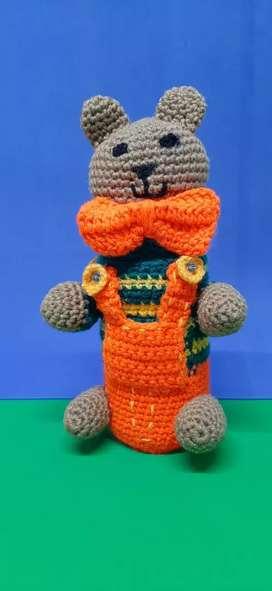 Frasco decorado al crochet