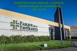 VENDO SEPULTURA FAMILIAR PERPETUA DE 4 NIVELES + 1 SERVICIO FÚNEBRE EN PARQUE DE LA ESPERANZA.