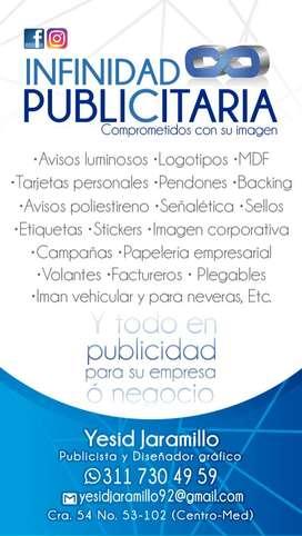 PUBLICIDAD MEDELLÍN. Factureros Plegables Avisos polie MDF Stickers Vo