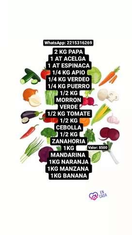 Bolsón de frutas y verduras frescas del dia