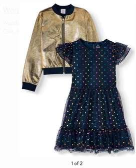 Vestido azul  y chaqueta dorada Niñas