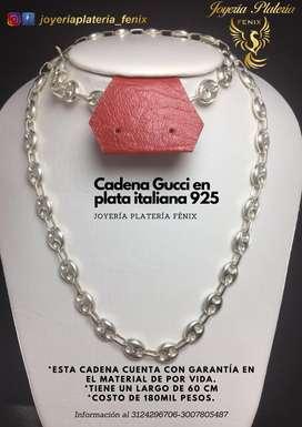 Cadena en PLATA ITALIANA 925 TEJIDO GUCCI