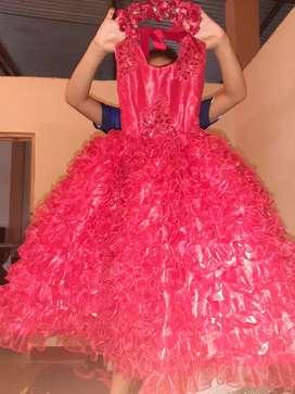 Vestido rojo de niña para 5 años una sola puesta
