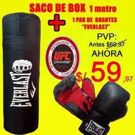 Saco box/artes Marciales 1metro alto mas 1 PAR DE GUANTES