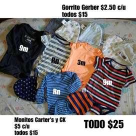 Lote Monitos Y Gorritos Carters Gerber