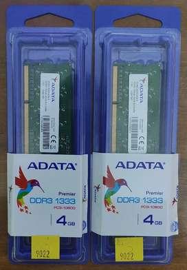 Memorias RAM ADATA DDR3 4gb 1333mhz