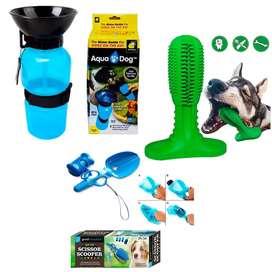 Combo mascotas cepillo de dientes, bebedero y pala