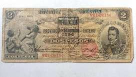 Billete dos pesos Santiago del estero 1894 B1165 Col 135