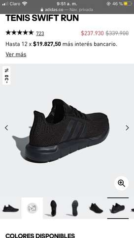 Tenis Adidas SWIFT RUN, US 8,5 - talla 40