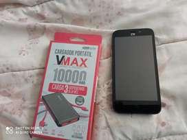 Celular Android ZTE y cargador vmax