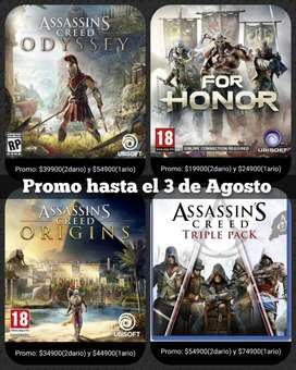 Assassins creed Origins, Odyssey y Triple Pack , For Honor Ps4-Ps5