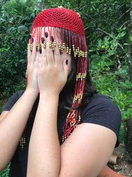 Tocado Rojo Con Dorado Para La Cabeza Traje De Danza Arabe