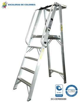 Escalera Aluminio Plataforma 4 A 10 Peldaños o pasos / 136 Kg