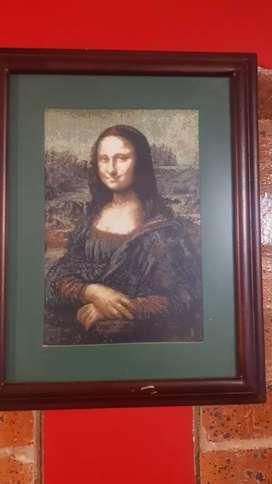 cuadro de la Mona Lisa tejido en punto de cruz