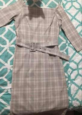 Vestido Semi Formal a cuadros color gris