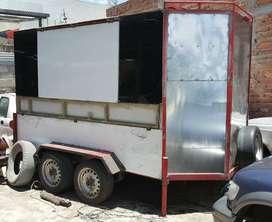 Remolque cerrado tipo food truck doble eje reforzado