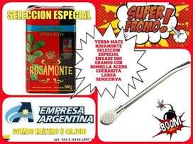 """OFERTA! COMBO MATERO! YERBA MATE ROSAMONTE"""" SELECCION ESPECIAL"""" 500 GR y BOMBILLA ACERO CUCHARITA LARGA SEMICURVA!"""