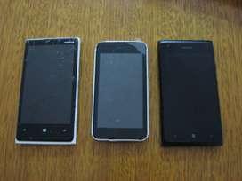 Vendo 3 Celulares Nokia Modelos 530, 640 y 920. (P/Reparar o Repuesto)..