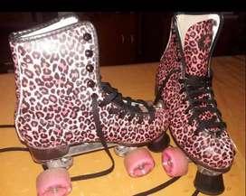 Vendo patines artísticos botas Ez life animal print rosa