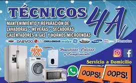 Servicio técnico reparación mantenimiento arreglo neveras lavadoras secadoras calentadores a gas horno microondas